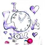 Word-art – Uhr – I Love you