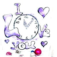 Word-art – Uhr – I Love you