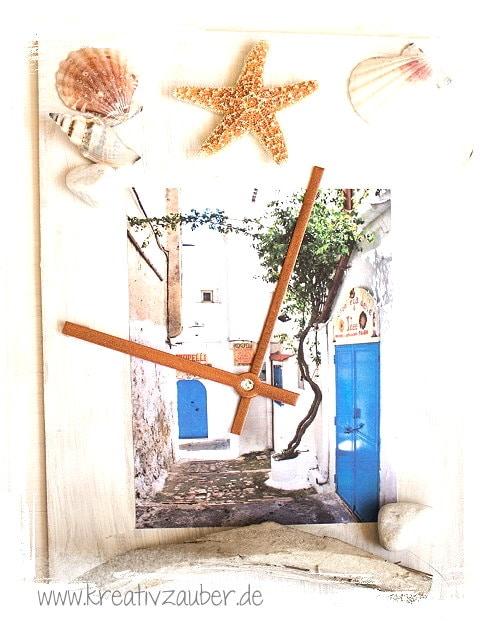 foto uhr als urlaubs collage basteln kreativzauber. Black Bedroom Furniture Sets. Home Design Ideas