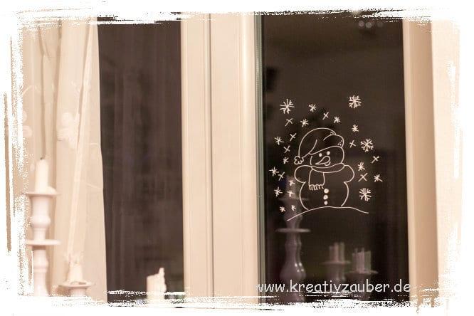 Winterfenster Schneemann Kreativzauber Bastelblog Mit Vielen