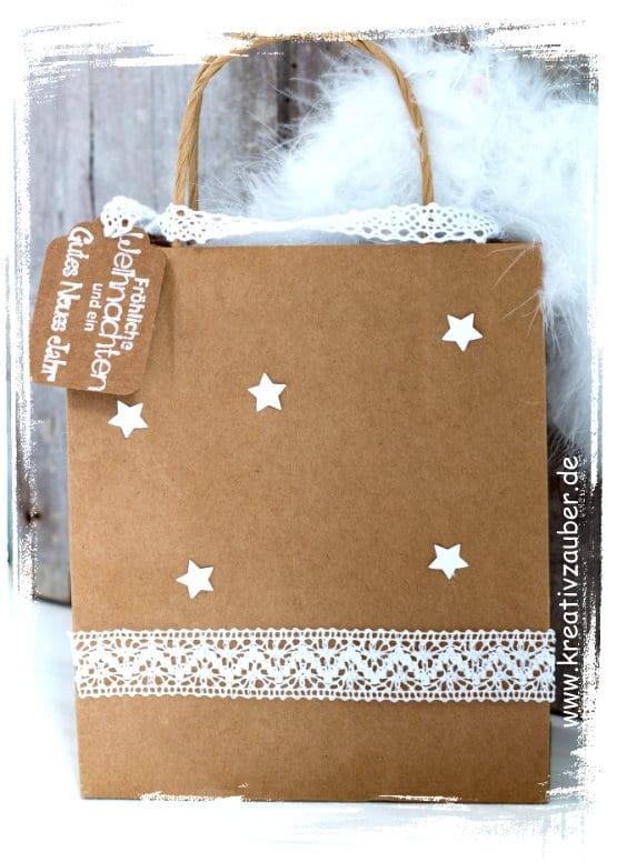 Geschenktasche basteln im vintage style kreativzauber for Weihnachtliche dekorationen im vintage look
