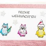 Eulen – Weihnachtskarte