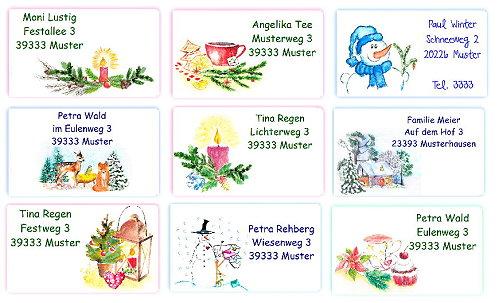 adressaufkleber weihnachten