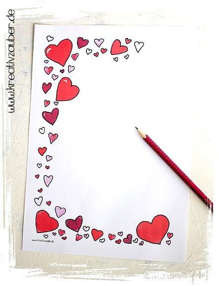 Briefpapier Vorlage Herzen Muttertag Kreativzauber