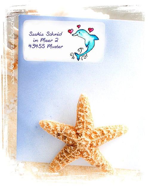 Adressaufkleber Sommer Delphin