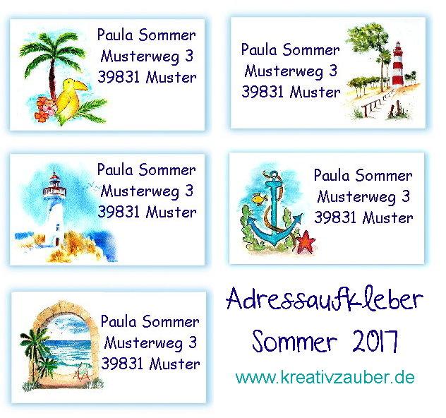 adressaufkleber sommer urlaub meer