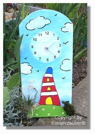 Leuchtturm basteln - Uhrenbasteln