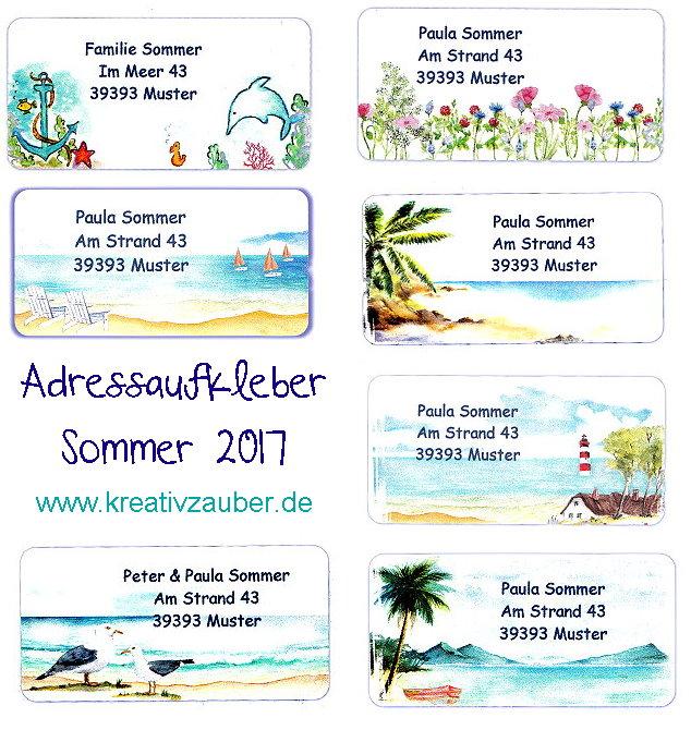 Adressaufkleber Neuheiten Sommer 2017