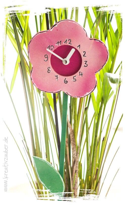 Blumenstecker Uhr basteln