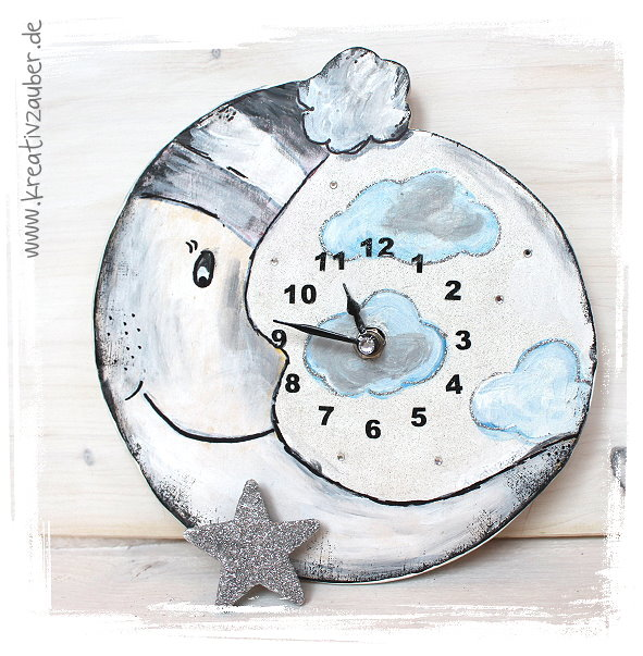 Vintage Uhr Mond Wanduhr basteln