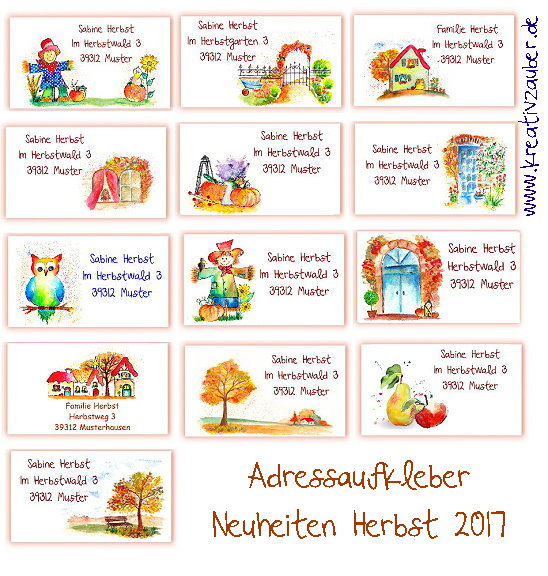 Adressaufkleber Herbst Neuheiten