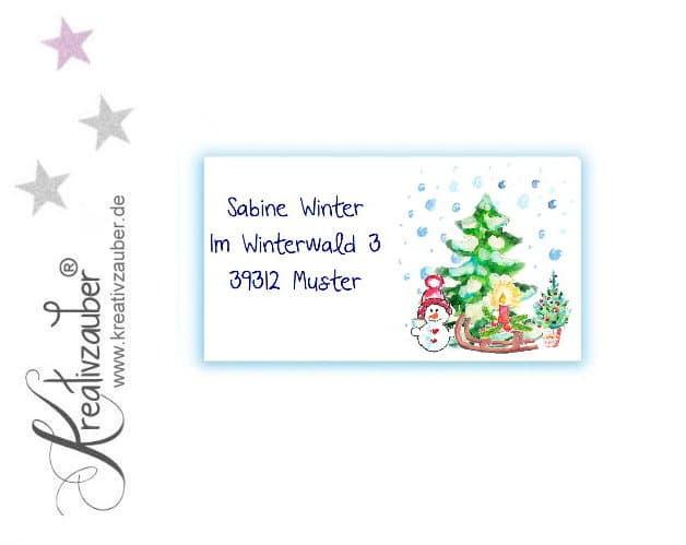 Adressaufkleber Weihnachten Winter