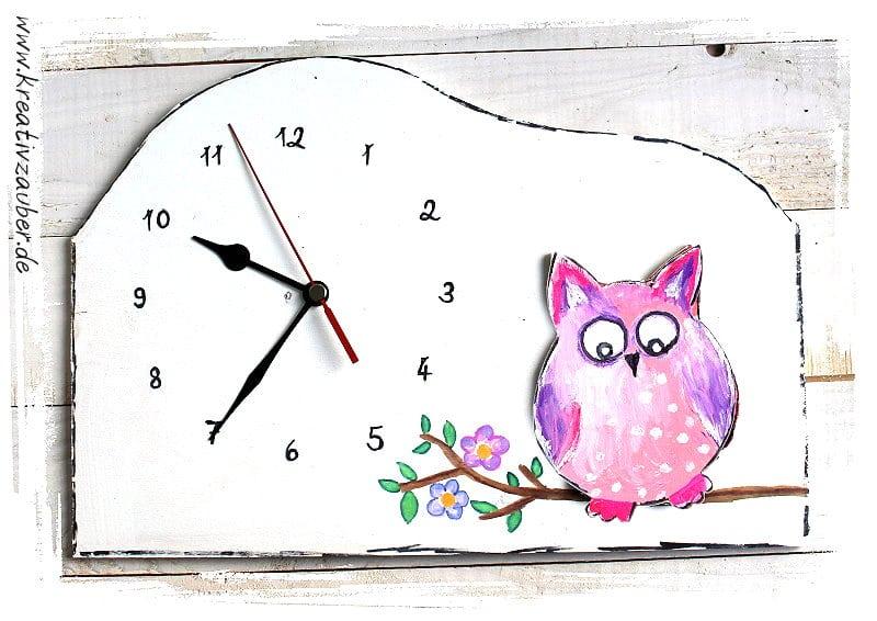 Eulen Uhr basteln