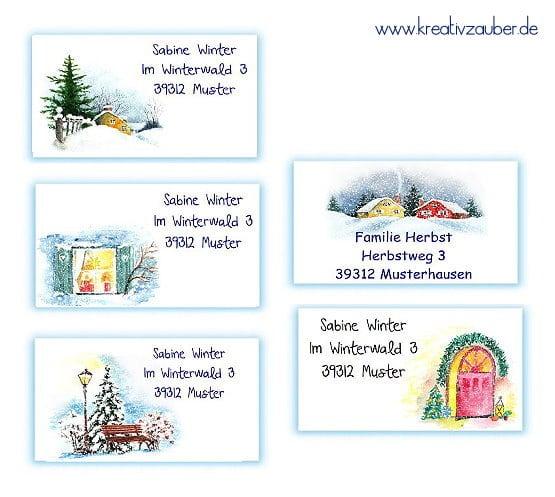 neue Adressaufkleber Weihnachten Winter