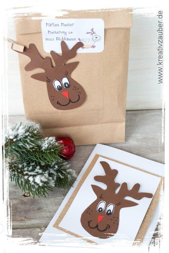 Rentier basteln Weihnachtskarte