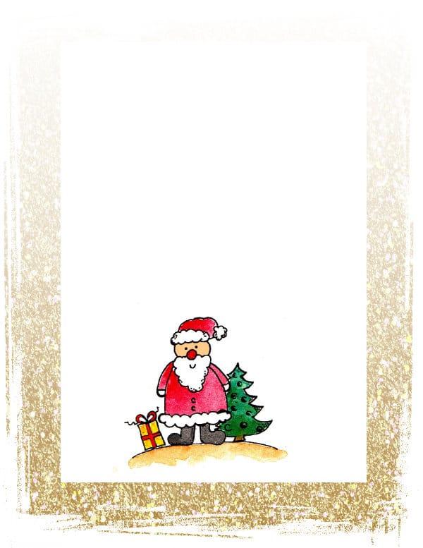 NIkolaus Weihnachtsmann Briefpapier kostenlos