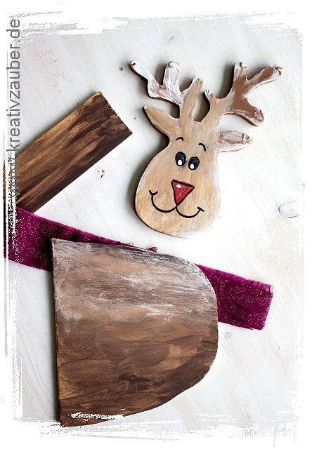 Elch basteln aus Holz ☆ Bastelvorlage ☆ Kreativzauber®