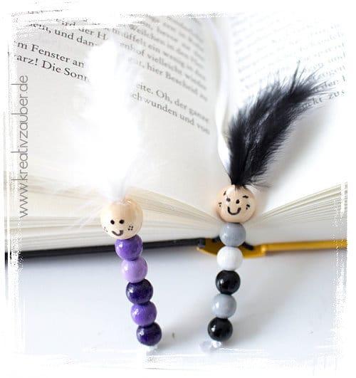 Bücherwurm basteln mit Perlen als Lesezeichen
