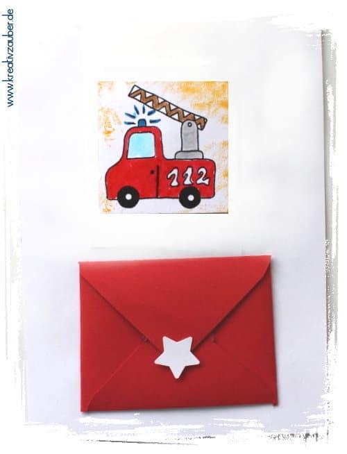 Feuerwehr Gutschein Karte Geldgeschenk