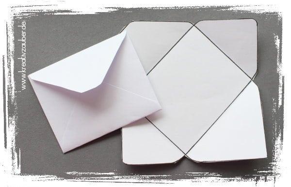 Mini Kuverts basteln Bastelvorlage
