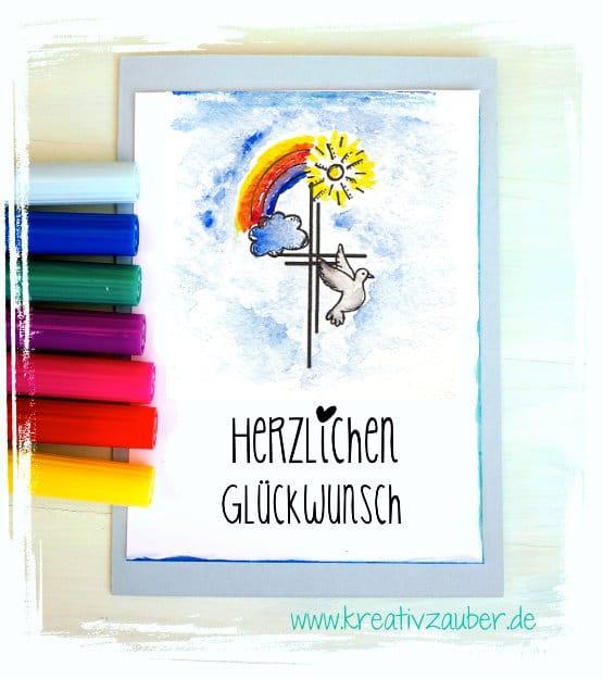 Karte Kreuz Taube Regenbogen Taufe Christlich