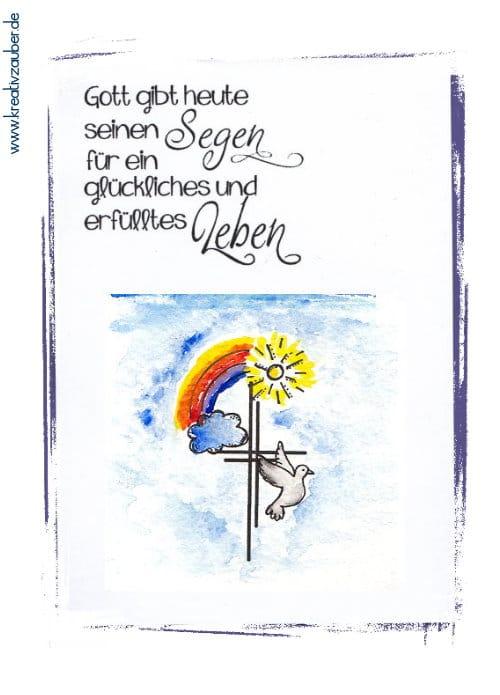 Karte Taufe Kreuz Regenbogen Taube