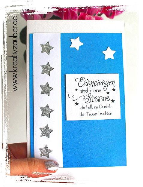 Trauerkarte Erinnerungen sind kleine Sterne