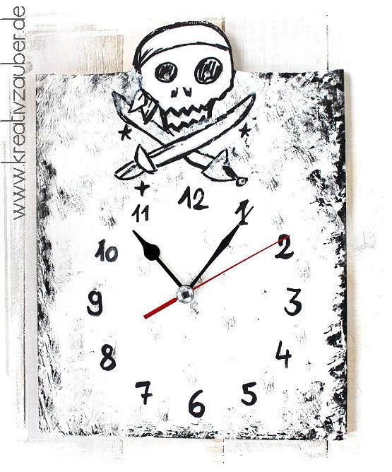 Piraten Uhr basteln - Vorlage und Anleitung - Kreativzauber®