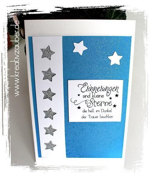 Trauerkarte basteln Erinnerungen sind kleine Sterne