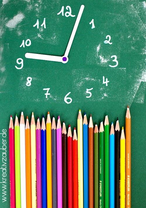 Uhr basteln Schule Buntstifte