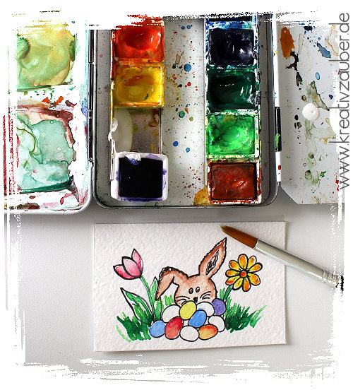 ostern aquarell wasserfarben motivstempel