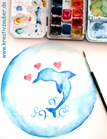 uhr malen Wasserfarbe
