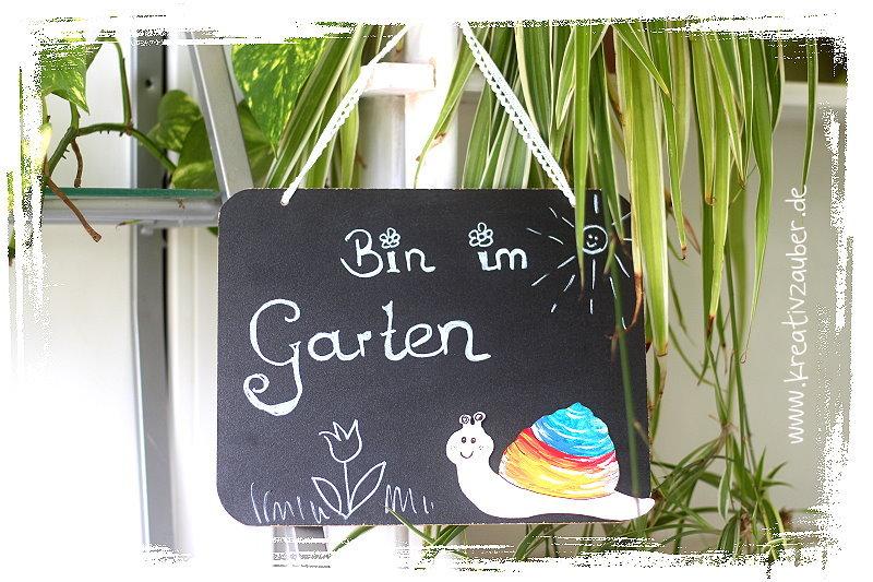 bin im Garten Schild - bastelideen im sommer