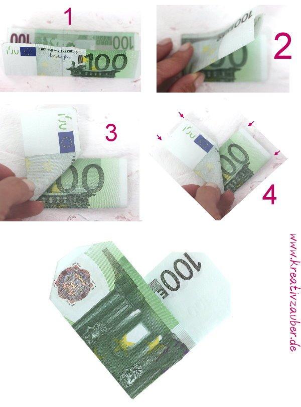 Geldschein falten zum Herz