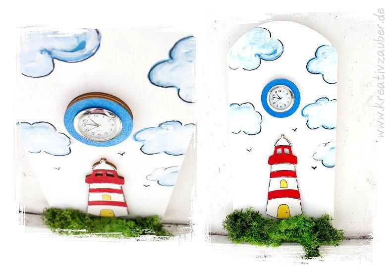 leuchtturm uhr basteln