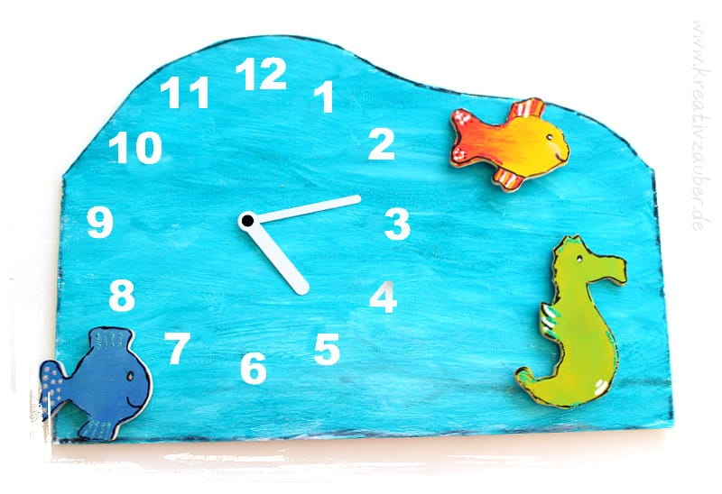 Meerestiere Uhr basteln