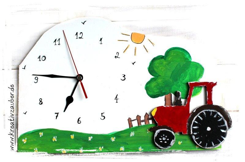 Traktor Uhr basteln