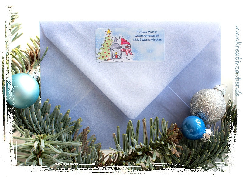Weihnachtsbriefpapier und Aufkleber für die Weihnachtspost