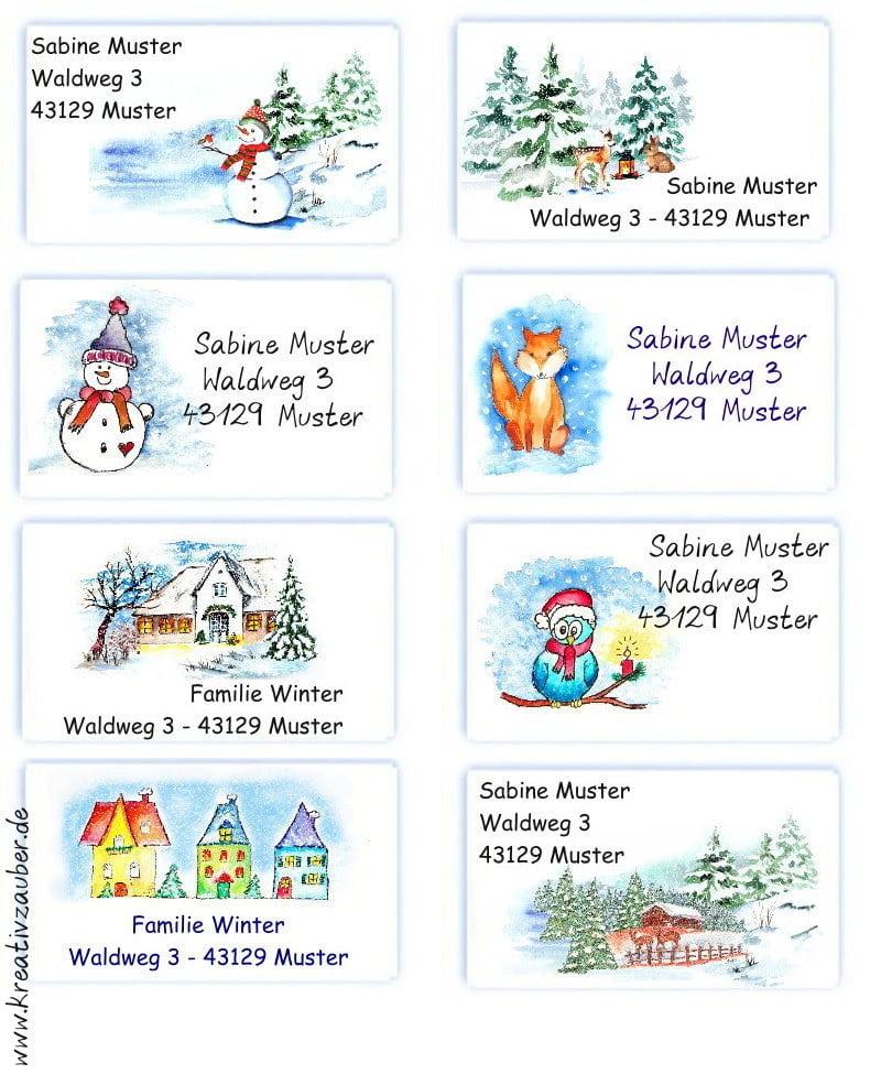 Adressaufkleber Winter Weihnachten