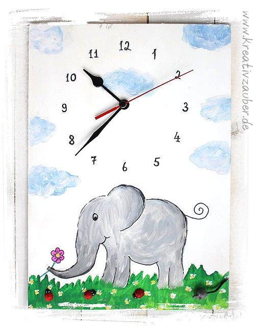 Bastelvorlage Wanduhr Elefant