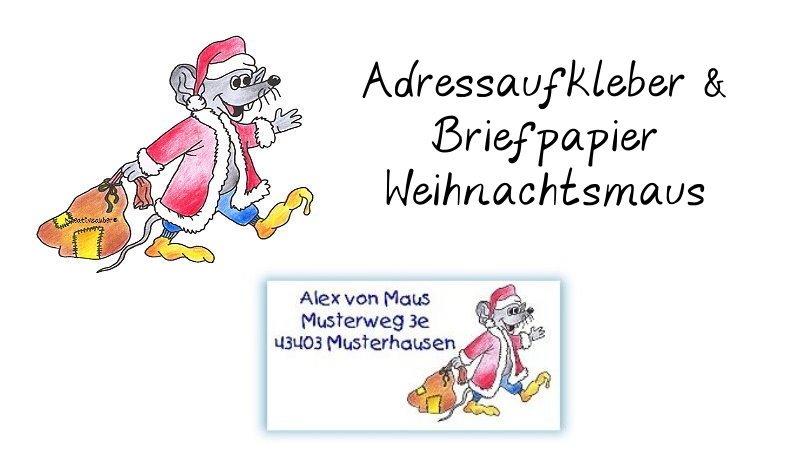 Adressaufkleber Briefpapier Weihnachtsmaus