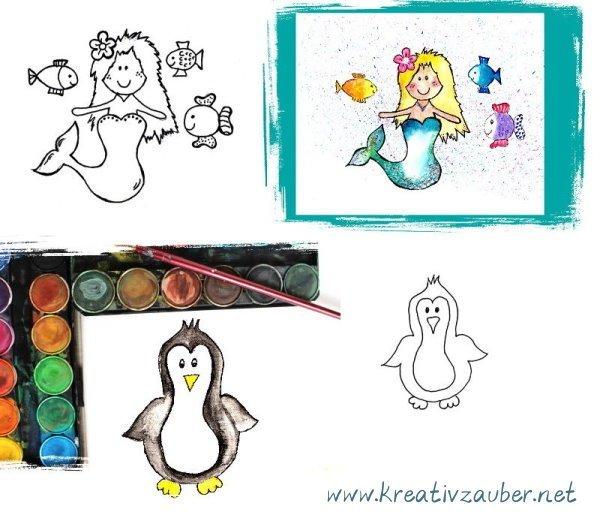 Motivstempel Pinguin und Meerjungfrau