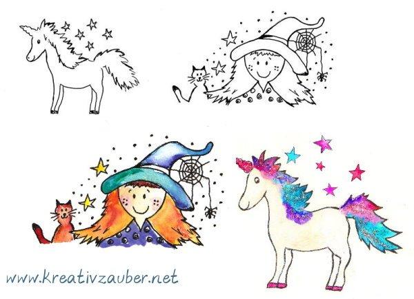kreative Stempel für Kinder mit Einhorn Hexe usw.