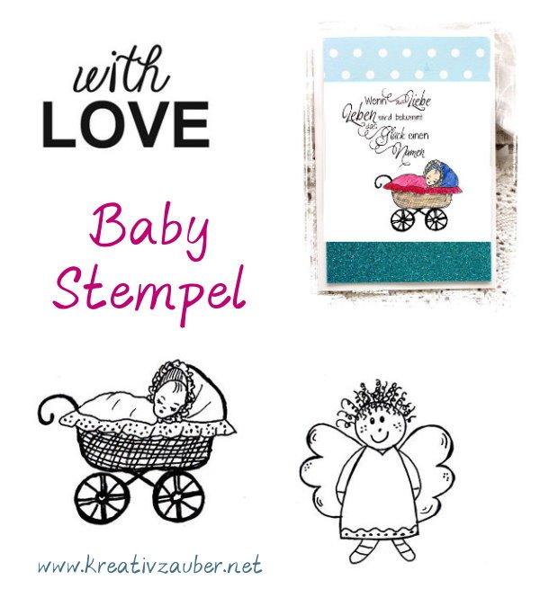 Babystempel stempel zur geburt mit Kinderwagen und schönen Texten