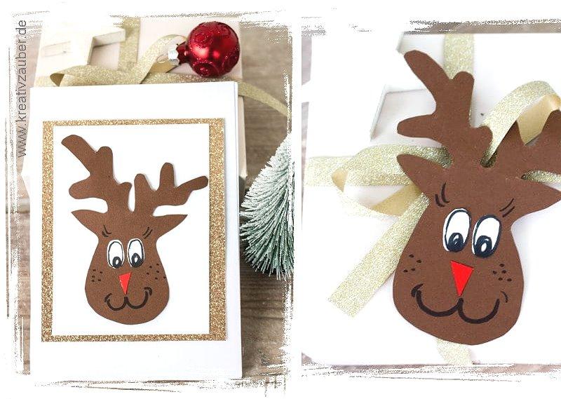 Weihnachtskarten selber basteln bastelvorlage Elch