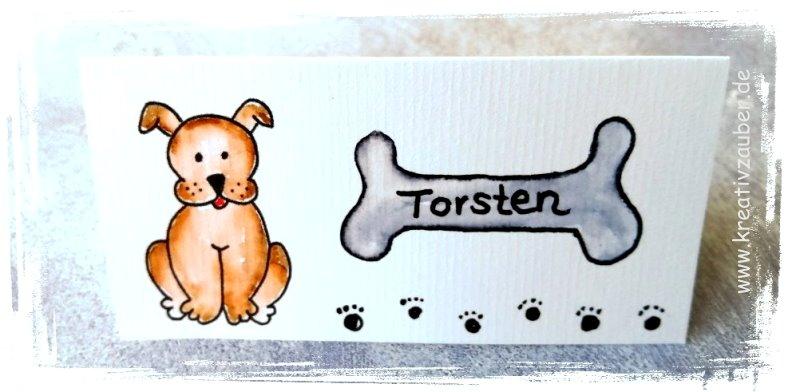 Tischkarte Hund